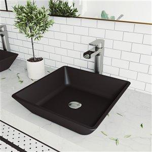 Lavabo de salle de bains Roma de VIGO, 15,75 po, noir mat