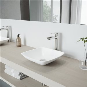 VIGO Hyacinth Matte White Bathroom Sink - 13.75-in - Brushed Nickel Faucet