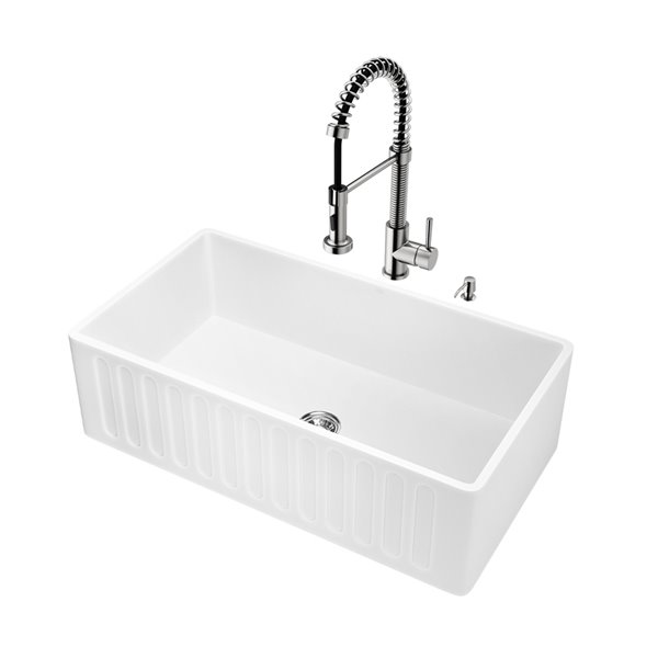 VIGO Kitchen Sink with Stainless Steel Faucet - Single Bowl - 38-in x 24-in