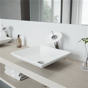 VIGO Hibiscus Matte White Bathroom Sink - 16-in - Chrome Faucet