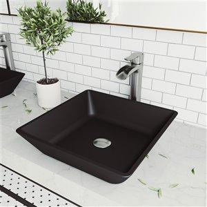 Lavabo de salle de bains noir Roma de VIGO, robinet nickel brossé, 15,75 po