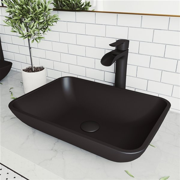 VIGO Sottile Matte Black Bathroom Sink - 18.13-in - Matte Black Faucet