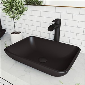 VIGO Sottile Matte Black Bathroom Sink - 18.13-in - Matte Black Faucet