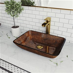 VIGO Russet Red and Brown Bathroom Sink - Matte Gold Faucet