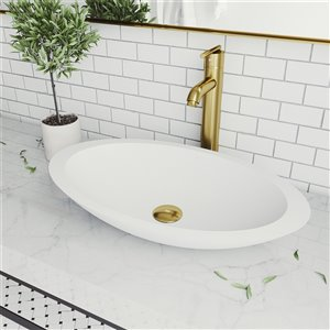 VIGO Wisteria Matte White Bathroom Sink - Matte Gold Faucet