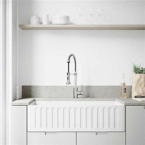 VIGO Matte Stone White Kitchen Sink with Chrome Faucet - Single Bowl - 41-in x 24-in