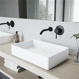 VIGO Magnolia Matte White Bathroom Sink - 21.25-in - Matte Black Faucet