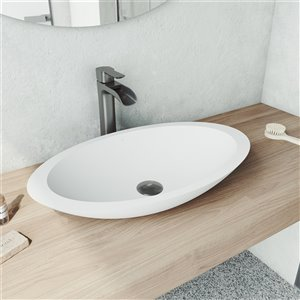 VIGO Wisteria Matte White Bathroom Sink - Graphite Black Faucet
