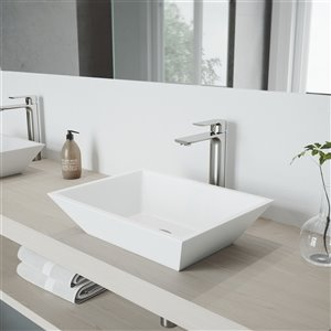 VIGO Vinca Matte White Bathroom Sink - 18-in - Brushed Nickel Faucet