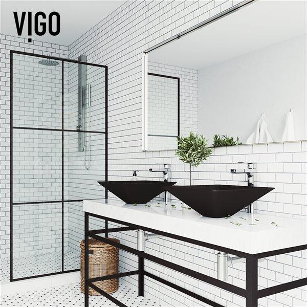 VIGO Serato Matte Black Bathroom Sink - 15.75-in - Chrome Faucet