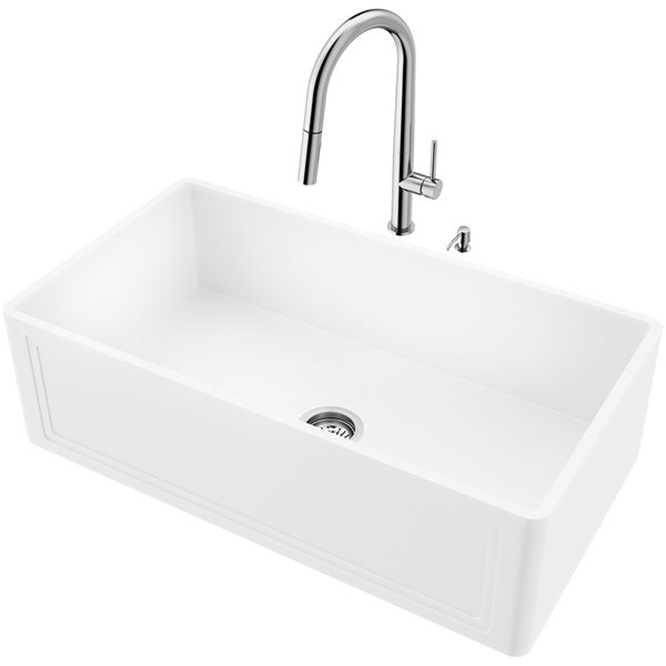 VIGO Matte White Kitchen Sink with Stainless Steel Faucet - Single Bowl - 39-in