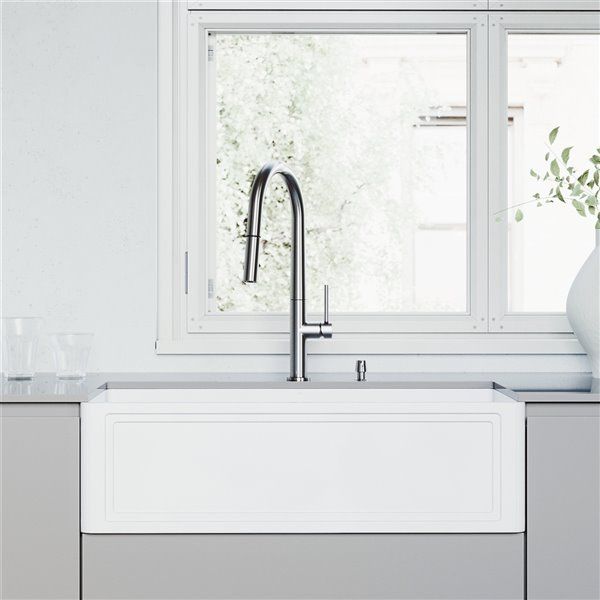 Vigo Matte White Kitchen Sink With Stainless Steel Faucet Single Bowl 39 In Vg15857 Rona