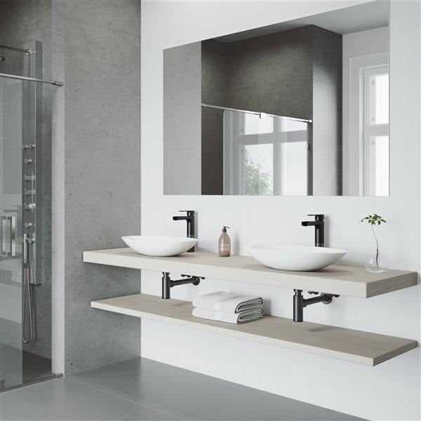 VIGO Wisteria White Bathroom Sink - 23.13-in - Matte Black Faucet