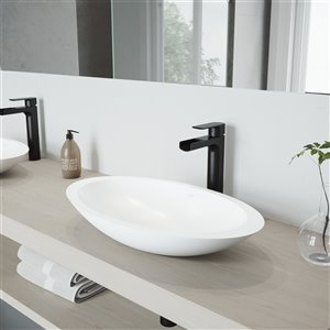 VIGO Wisteria White Bathroom Sink - 23.13-in - Matte Black Faucet