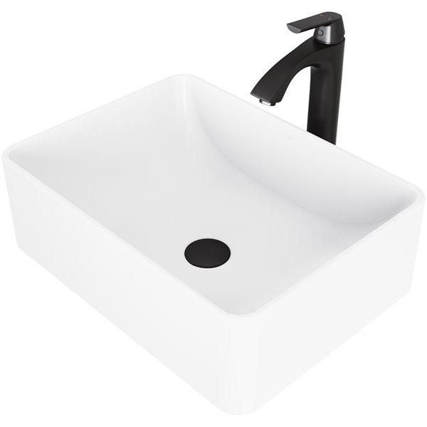 VIGO Amaryllis Matte White Bathroom Sink - 19.75-in - Matte Black Faucet