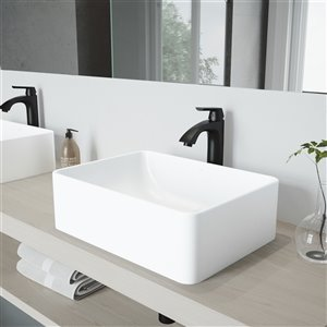 VIGO Amaryllis Matte White Bathroom Sink - 19.75-in - Matte Black Faucet