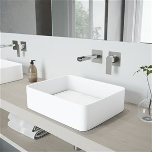 VIGO Jasmine Matte White Bathroom Sink - Brushed Nickel Faucet