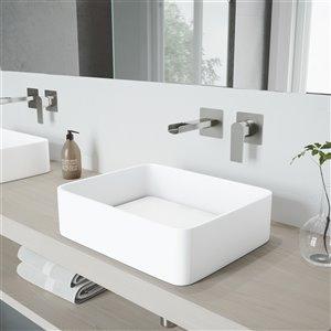 Lavabo de salle de bains blanc mat Jasmine de VIGO, robinet nickel brossé, 18,13 po