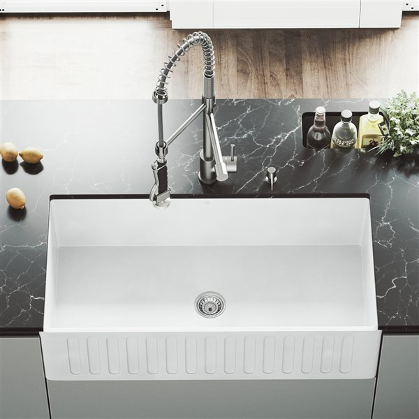 VIGO Matte White Kitchen Sink with Stainless Steel Faucet - Single Bowl - 41-in x 24-in