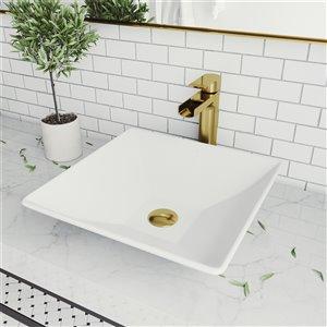 Lavabo de salle de bains blanc mat Hibiscus de VIGO, robinet or mat, 16 po