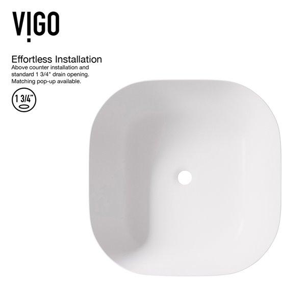 VIGO Camellia Matte White Bathroom Sink - Matte Gold Faucet