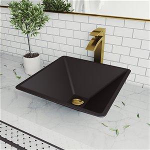 Lavabo de salle de bains noir Serato de VIGO, robinet or mat, 15,75 po