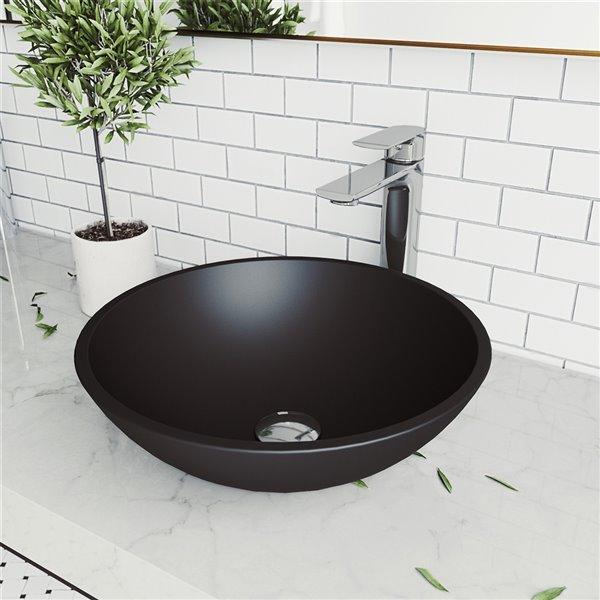 Lavabo de salle de bains Cavalli de VIGO, 15 po, noir mat