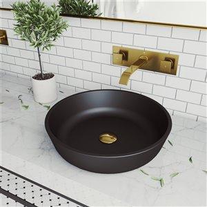 Lavabo de salle de bains noir mat Modus de VIGO, robinet or mat, 16,5 po