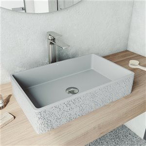 VIGO Dahlia Light Grey Bathroom Sink - Brushed Nickel Faucet