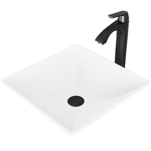 Lavabo Hibiscus de VIGO, robinet noir mat, 16 po