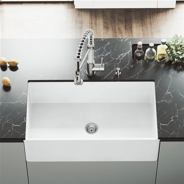 VIGO Matte Stone White Kitchen Sink - Single Bowl - 39-in x 25-in