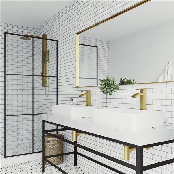 VIGO Magnolia Matte White Bathroom Sink - Matte Gold Faucet