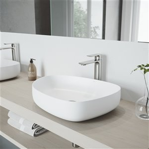 VIGO Peony Matte White Bathroom Sink - Brushed Nickel Faucet