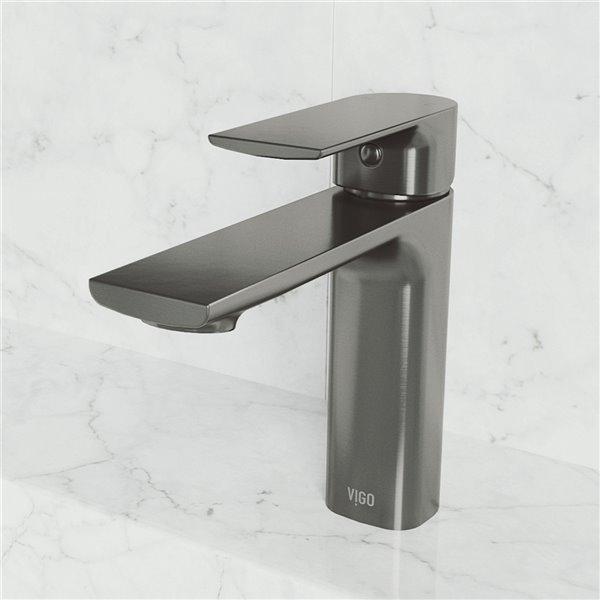 VIGO Davidson Single Hole Bathroom Faucet - Graphite Black