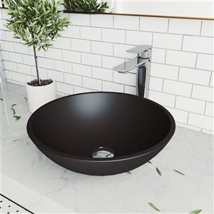 VIGO Cavalli Matte Black Bathroom Sink - Chrome Faucet