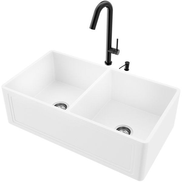 VIGO White Kitchen Sink with Matte Black Faucet - Double Bowl - 39-in