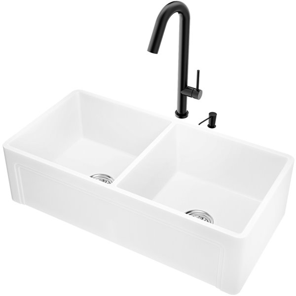 VIGO Matte Stone White Kitchen Sink with Matte Black Faucet - Double Bowl - 41-in
