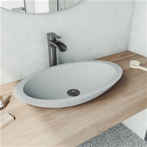 VIGO Yarrow Light Grey Bathroom Sink - Graphite Black Faucet