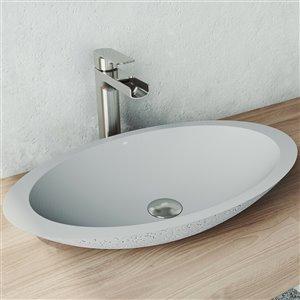 Lavabo de salle de bains Yarrow de VIGO, 23,13 po, gris cendré