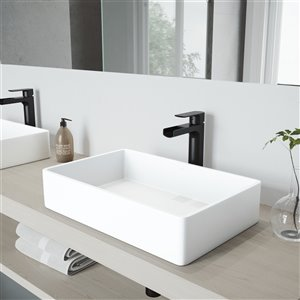VIGO Magnolia Bathroom Sink - 21.25-in - Matte Black Faucet