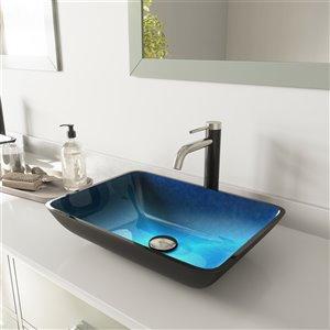 Lavabo de salle de bains Turquoise Water de VIGO, robinet nickel brossé, 13 po