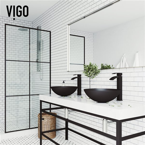 VIGO Cavalli Matte Black Bathroom Sink - Matte Black Faucet