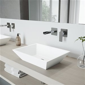 VIGO Vinca Matte White Bathroom Sink with Chrome Faucet - 18-in