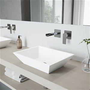 Lavabo pour salle de bains blanc mat Vinca de VIGO, robinet chromé, 18 po