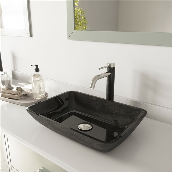 VIGO Onyx Grey Onyx Bathroom Sink - Brushed Nickel Faucet