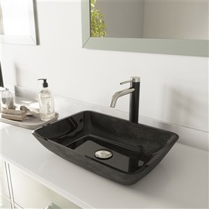 VIGO Onyx Grey Onyx Bathroom Sink - Brushed Nickel Faucet