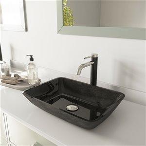 Lavabo de salle de bains gris onyx de VIGO, robinet nickel brossé, 13 po