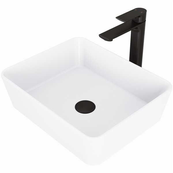 VIGO Marigold White Bathroom Sink - 17.75-in - Matte Black Faucet