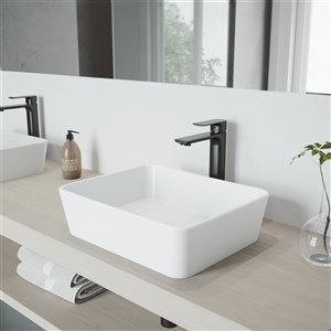VIGO Marigold White Bathroom Sink - 17.75-in - Matte Black Faucet
