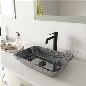 Lavabo de salle de bains gris Titanium de VIGO, robinet noir mat, 13 po